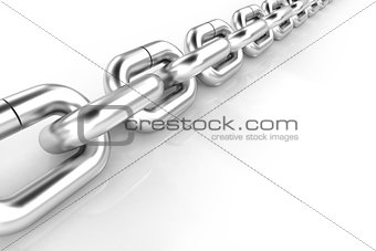 3d metal chain on white background