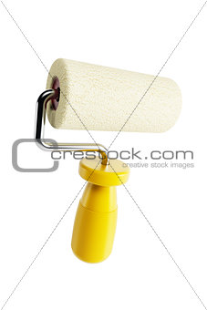 isolated yellow paint roller