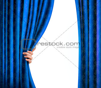 Background with blue velvet curtain and hand. Background with bl
