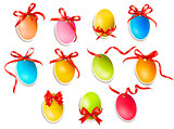 Decorative easter eggs.Easter cards with red bow and ribbons. Ve