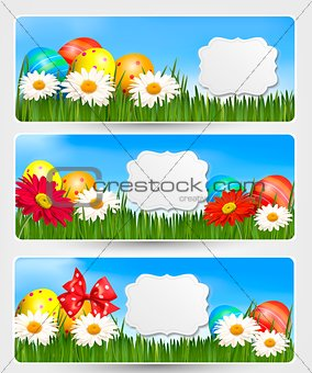 Easter banners with Easter eggs and colorful flowers