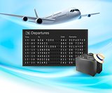 Travel background with mechanical departures board and airline.