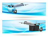 Two travel banners with with airplane on blue sky. Travel concept. Vector