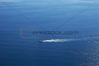 Cruise ship on the sea. Liguria, Northern Italy.