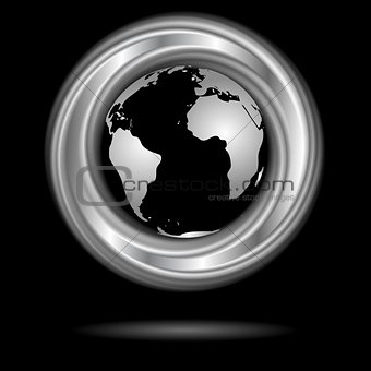Abstract silver ring and globe. Vector design