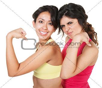 Smiling Fit Women Flexing