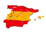 Spain map cracked