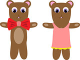 Dressed up cute cartoony looking teddy-bear couple