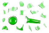 Top view of broken green bottle