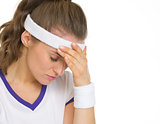 Portrait of stressed tennis player