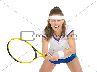 Tennis player during a fierce battle