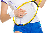Closeup on tennis player playing on racket as on guitar