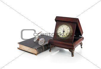 Old Clock And Book