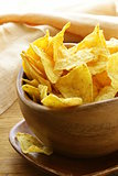 corn tortilla chips in a wooden bowl