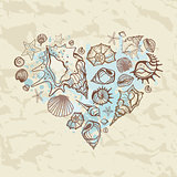 Love sea. Heart of shells.
