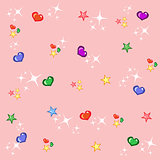 Pink shiny princess background with colourful stars and hearts