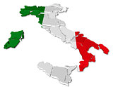 Italy map cracked