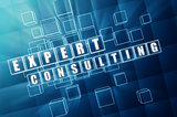 expert consulting in blue glass cubes