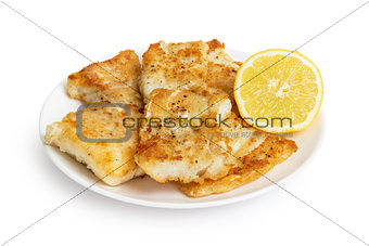 fried in flour codfish on plate