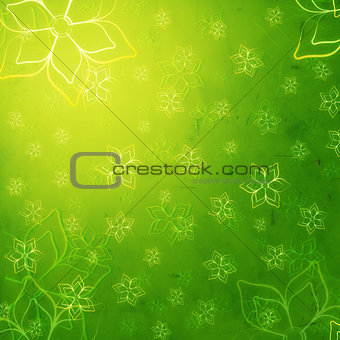 contours of flowers in green old paper background