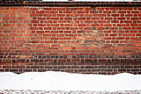 Brick wall and snow 