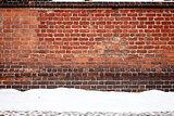 Brick wall and snow