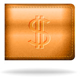 Brown leather pouch with dollar sign