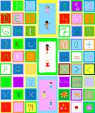 alphabet, numbers and children playing