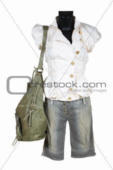Blouse, shorts and bag
