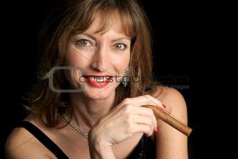 Beautiful Woman Enjoying Cigar