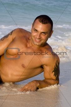 Tanned Male Model Lying Down