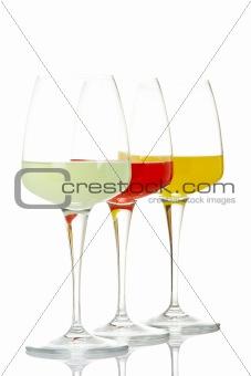 Three glasses of drinks