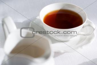 Cup of tea and milk jug.