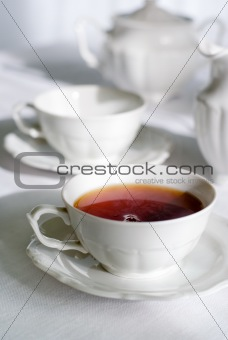 Cup of fresh and steaming tea