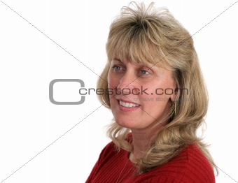 Blond Woman Looks Ahead
