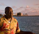Caribbean Man Enjoys Sunset