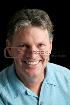 Mature Man on Black - Great smile