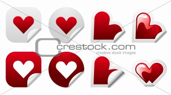 Valentine heart sticker icon set