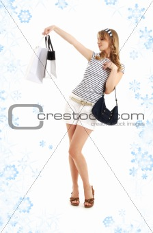 blond with shopping bags and snowflakes