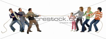Casual man and woman playing tug of war - isolated on white