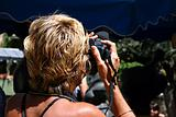 Blond photographer woman
