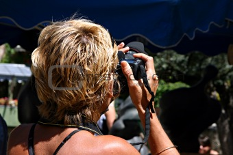 Blond photographer woman