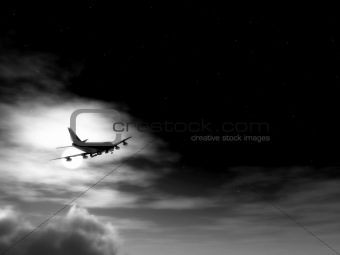 Plane In Flight At Night 2