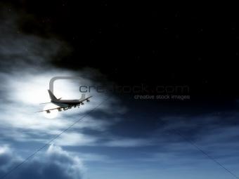 Plane In Flight At Night