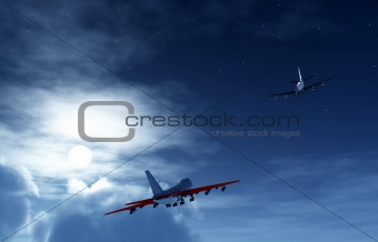 Two Planes Flying At Night 3