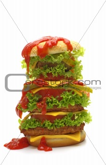 big cheeseburger with ketchup on white background