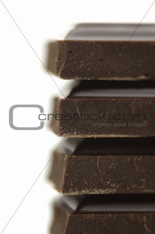 black bitter chocolate on white background