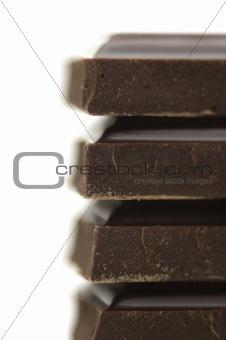 black bitter chocolate on white background