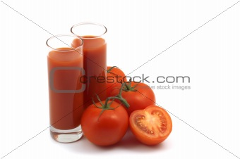 tomatoes and juice on white background