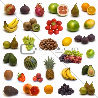 large page of fruits  on white background 3